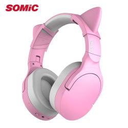 Somic Sc2000マイクロフォンの携帯電話のアクセサリが付いているピンク猫耳の無線Bluetoothの賭博のヘッドホーンのヘッドセット