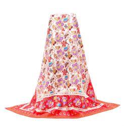 La moda de lujo en pura seda de la mujer elegante pañuelo de seda Flaral colorido