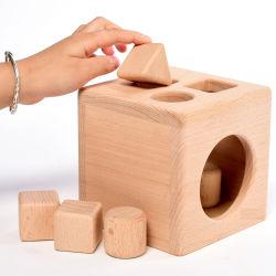 Atividade de madeira Caixa com forma geométrica Blocos de empilhamento definido em brinquedos para crianças de forma educativa Sorter para bebê pré-escolares meninos meninas escolares Criança Cofre Faia