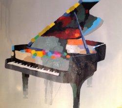 ピアノ部屋のためのハンドメイドのピアノキャンバスの芸術