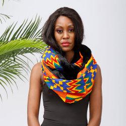 Impressão africana Aquecedores do pescoço com Fleece Fashion Inverno lenço quente para as mulheres