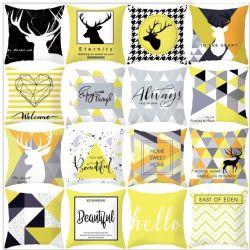O design de alta qualidade amarelo Última Almofada Impressa de fantasia abrange a venda por grosso personalizado para sofá cadeira decoração doméstica