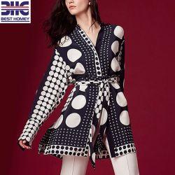 Женщин на 100% шелк Crep De Chine Fashion-Polka Dot печать большими кофта платье с Self-Tie ремень для леди