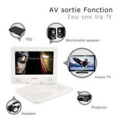 Commerce de gros blanc Lecteur DVD portable 9 pouces, lecteur de DVD portable double écran, lecteur DVD portable Durabrand