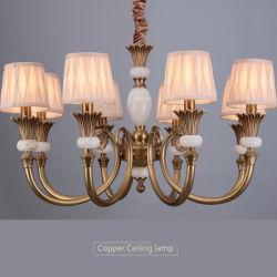 European-Style Simple Salón de cerámica decoración retro araña de cristal de Cobre