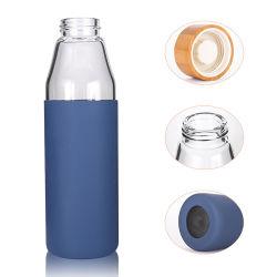 Logotipo personalizado 500ml botella de agua potable de vidrio con tapa de bambú