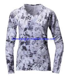 Мода глубоким V шеи защиты от солнца Upf50+ Сублимация промысел рыболовных женщин производительности рубашки и футболки на заказ
