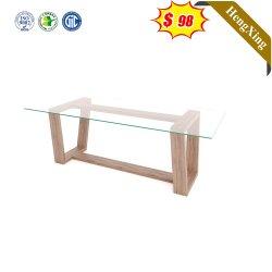 Einfaches Design Modernes Wohnzimmer Möbel Set Sofa Seite Tisch-Center-Schreibtisch Glas Couchtisch mit Holzbeinen