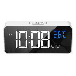 Pantalla LED de la moda Digital Reloj LED calmante clásico Reloj Despertador espejo con la temperatura Reloj de pared