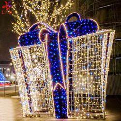 Feliz Navidad Street Holiday Lights estructura 3D Caja de regalo de Navidad Decora Iluminación Motif