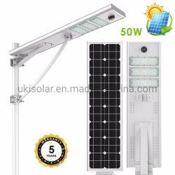 Nuevo diseño LED Solar integrada de la luz de la calle, al aire libre de energías energía verde jardín Lámparas de luces con poste de acero galvanizado Hot-Dipped