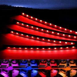 مصابيح السيارة الداخلية LED الزخرفية 5050 باللون الأحمر والأخضر والأزرق (RGB) سيارة