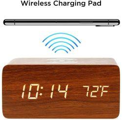 Amazon LED Madera Caliente El Tiempo El Control de sonido el atenuador reloj alarma cargador de teléfono