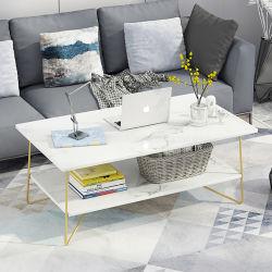 Новый дизайн Creative двойных слоев металлический держатель черный/белый мрамор верхней части современных металлических конец ног Кофейный дешевые диван-кровать для приготовления чая и набор таблицы
