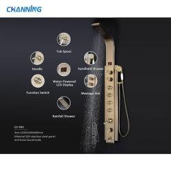 Channing Pressão Alta Escovada Chuveiro banho poliban Definir Sistema de Torre chuveiro Rainfall Painéis com Interruptor de Cristal (QT-090)