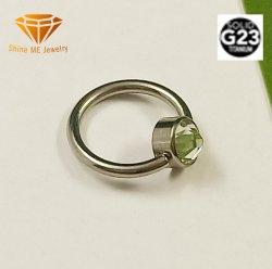 Sichernder Titanedelstein CZ der Form-Schmucksache-G23 schellen Titankarosserien-Piercing Schmucksache-Nabel-Ring Tp1933