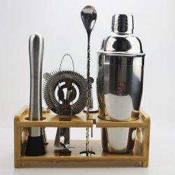 Jeu d'outils La barre avec le bambou Stand 750 ml Cocktail en acier inoxydable barman Shaker Jigger méli-mélo de crépine