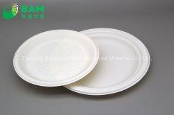 Completamente Biodegradable dividiendo Compostable redondo de fibra de caña de azúcar de la planta de panadería paquete de alimentos de comida para llevar la placa redonda para el postre pastel