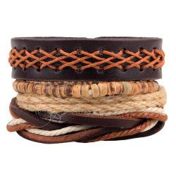 As mulheres africanas homens ampla jóias artesanais tecidos de madeira Corda de cordões de cânhamo multicamada Bangles bracelete de couro