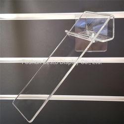 La fábrica China de MDF de alta calidad de acrílico transparente Slatwall titular de la zapata de la pantalla para mostrar los zapatos en el supermercado y tiendas, comercios