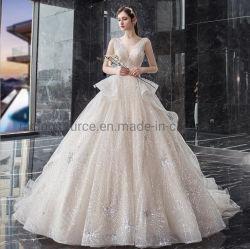 Absinken-Verschiffen-Form-Sleeveless Brautkleid Bling Bling Brauthochzeits-Kleid