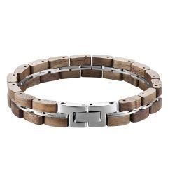La moda de hombre joyería de plata pulida a mano brazaletes de madera oscura Unisex Pulsera de acero inoxidable
