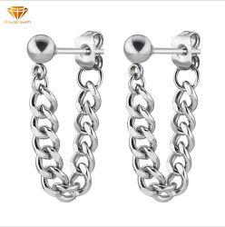 Orecchini Chain d'acciaio di titanio neri d'argento di vendita Er4243 della vite prigioniera dei piccoli della sfera d'acciaio dell'acciaio inossidabile di modo migliori orecchini della vite prigioniera