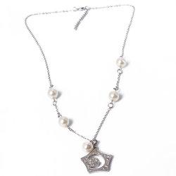 Última moda de joyería de plata con perla colgante, collar de Estrás