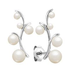 925 серебристые с жемчугом ухо выступе серьги моды ювелирных украшений