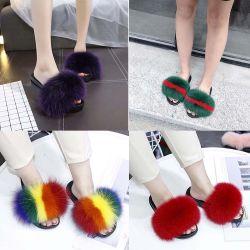 As mulheres de moda piscina EVA sola PVC Home Fox Fur chinelos de Flat-Bottomed Non-Slip