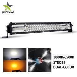 12D 3열 자동 차량 LED 라이트 바 듀얼 컬러 Storbe 플래싱 6000K 22인치 지프용 방수 12V LED 바