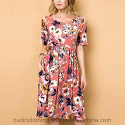Frauen Wholesale Form-Kleidungs-gedrucktes Pocket beiläufiges Blumenkleid