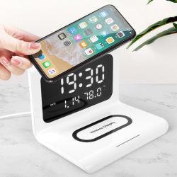 شاشة عرض درجة حرارة ساعة المنبّه متعددة الوظائف Qi 10W Phone Accessory Qi الهاتف المحمول الذكي شاحن لاسلكي سريع لهاتف iPhone Xiaomi Huawei سامسونج الخ الصين