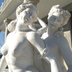 庭のLife-size Nude Sculptures (GSS-237)石造りの彫像の大理石の女性