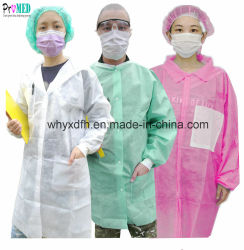 Traje de trabajo de laboratorio de polipropileno, polietileno microporoso/SMS/Nonwoven/PP/PE/CPE/SF visitante/médico/paciente/estudio/médico/smock/levita Bata de laboratorio desechable