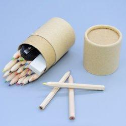 De Vastgestelde Gom Inculding van de kantoorbehoeften, Plastic Slijper en de Kleurpotloden van 3.5 Duim 24PCS in de Buis van het Document van de Gift