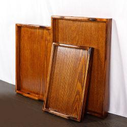 Bandeja de madeira retangular criativa a madeira maciça copo de água a bandeja