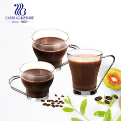 Ierse Coffee Glass Mok Europe Style Drinks Glass Coffee Cup Met metalen handgreep (GB094314)