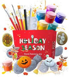 아이 바위 색칠 장비는 - 아이를 위한 예술 & 기술 - 바위 & 방수 페인트를 포함한다