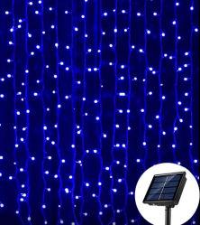 3X2m modi solari della tenda di finestra alimentata dei 200 LED/dell'indicatore luminoso 8 stringa ghiacciolo/della rete che funzionano l'indicatore luminoso leggiadramente del giardino del patio della ghirlanda solare esterna di natale