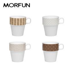 مجموعة كوب قهوة من كوب كوب السفر من السيراميك يمكن تكفيه من 4 قطع مع حامل معدني