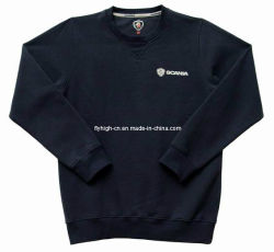 Camicia di sudore su ordinazione del collo rotondo nero degli uomini