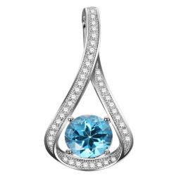 Paramètre Micro paver CZ 925 Silver pendentifs bijoux avec Topaze Bleue