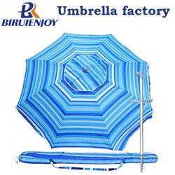 7 pieds de bleu d'inclinaison à évent de sable construit les voyages d'ancrage Parasol W/ télescopique pôle d'aluminium et de sac de transport pour la pêche d'un patio, les sports