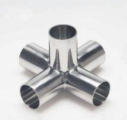 SS304 SS316L soudés en acier inoxydable sanitaires serré du raccord de tuyau transversal 5 contacts