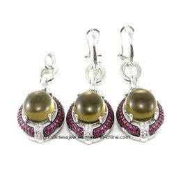 La moda de joyería de plata de ley 925 de latón o conjunto de Joyas de piedras preciosas descenso Anzuelos pendientes y colgante de la mujer