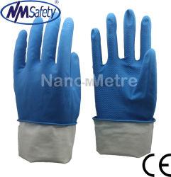 Guanti blu del lavoro di pulizia della famiglia di famiglia del lattice di Nmsafety