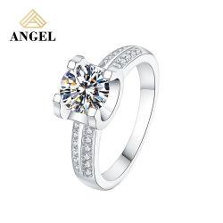 Nouveau design Mode classique bijoux mariage Bijoux en Argent Sterling ronde brillantes CZ Bague en pierre