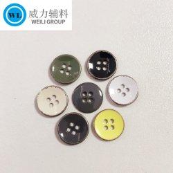 Produttore Hot Sales Custom poliestere/resina/metallo cucito su /pulsante foro, bottoni in metallo con smalto in difficoltà per camicia giacca Abbigliamento Accessori rivestimenti