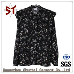 유행 까만 작은 꽃 편리한 숙녀 셔츠